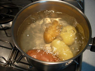 Potatoes in boiling water